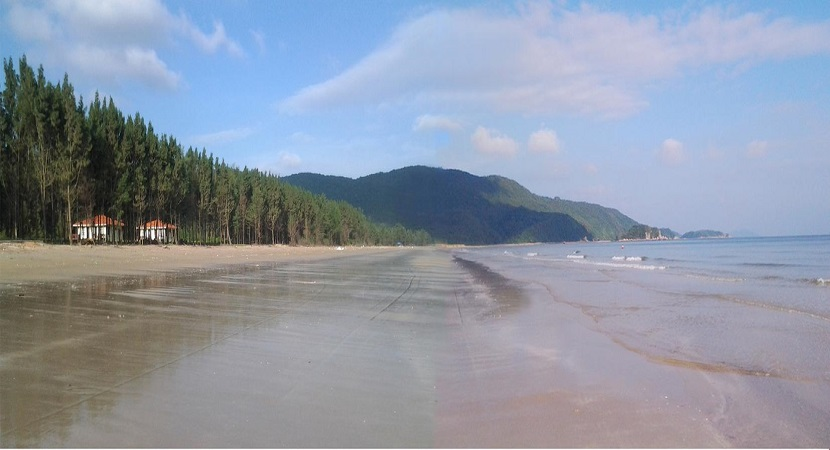 Bãi tắm Trường Chinh trên đảo Ngọc Vừng