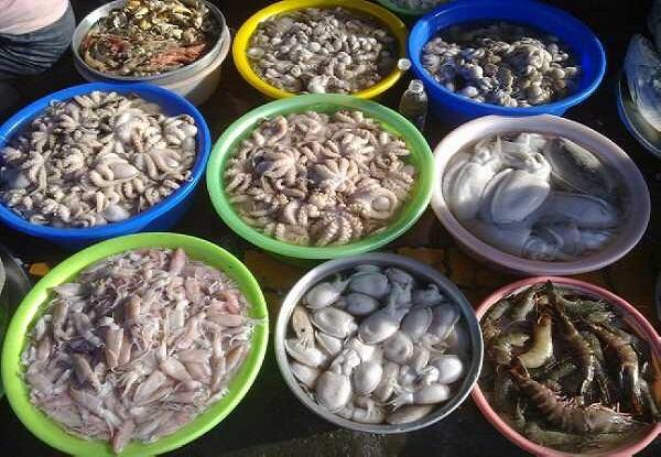 Hải sản đa dạng tại chợ Hạ Long